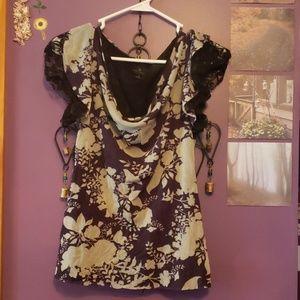 Silky floral dress shirt